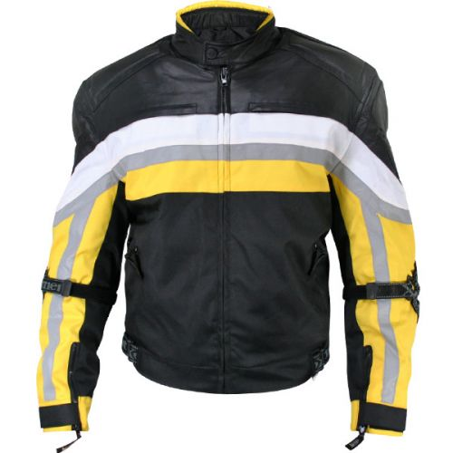Men's Armored Black and Yellow Tri-Tex Fabric and Leather Trim Jacket with Level-3 Advanced Armor and Kevlar Protection